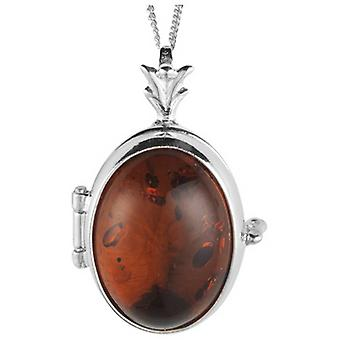 Orton West Amber Locket - Silver/Brown