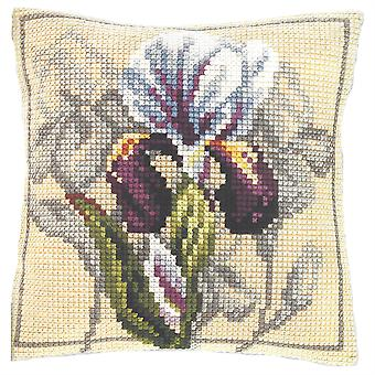 Orchidea Tapestry Cross Stitch Cushion Cover - Iris