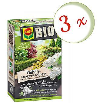 Disperso: 3 x COMPO BIO fertilizante a largo plazo de madera con lana de oveja, 750 g