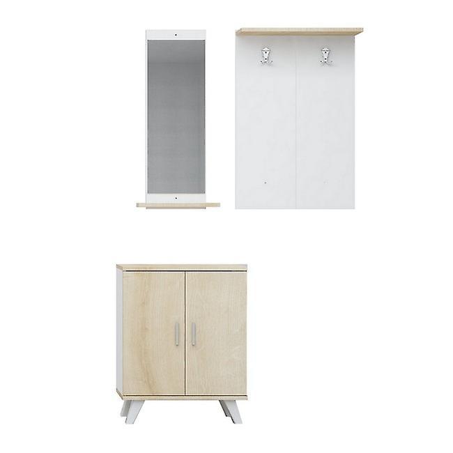 Entrée mobile Turmalin Color Oak, Blanc en puce, Plastique, Métal 30x12x90 cm, 60x17x90 cm, 60x35x76 cm