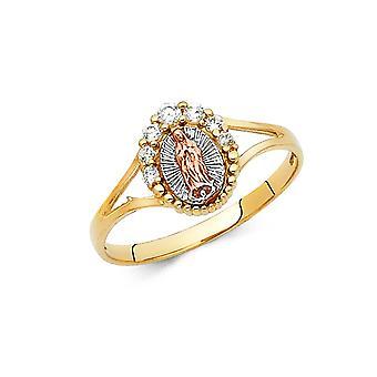 14k Oro Giallo Guadalupe C'è Cubic irconia Diamante Simulato Dio Anello Taglia 7 Regali Gioielli per le Donne