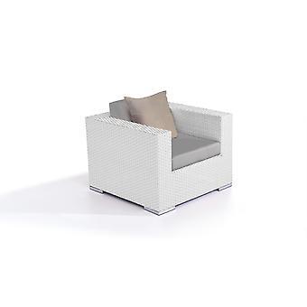 Polyrattan Cube Fauteuil - wit satijn-vergulde