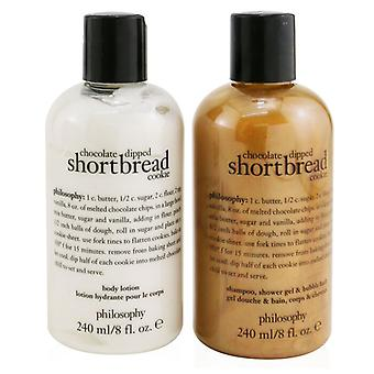 Chocolate-dipped Shortbread Cookie 2-pieces Gift Set: Shampoo Shower Gel & Bubble Bath 240ml + Body Lotion 240ml - 2