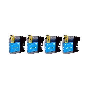 RudyTwos 4x Replacement for Brother LC-123C Ink Unit Cyan Compatible with MFC-J6920DW, MFC-J6520DW, DCP-J4110DW, MFC-J4410DW, MFC-J470DW, MFC-J870DW, MFC-J4510DW, DCP-J752DW, DCP-J552DW, DCP-J132W, MF
