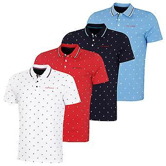 Ted Baker Herren Gras Stretch Stripe gestrickte Kragen Golf Polo Shirt