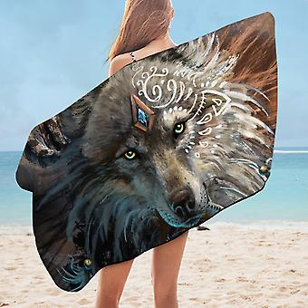 Native Artwork Wolf Microfiber Beach Towel