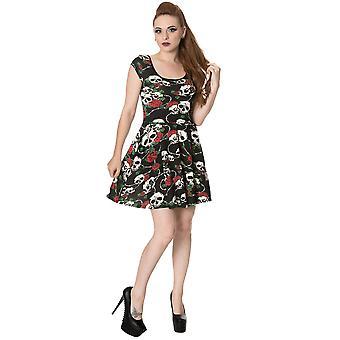 Yasaklı - kafatası gülleri - women's - jersey elbise, siyah