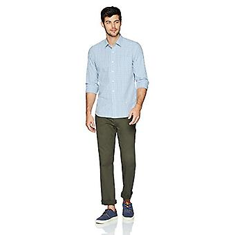 Goodthreads Men's Slim-Fit Multi-Sleeve Multi Stripe Plaid Shirt, Bleu/Bleu, X...