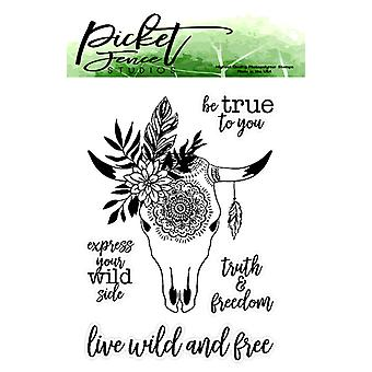 Picket Fence Studios Boho Bull Clear Stamps