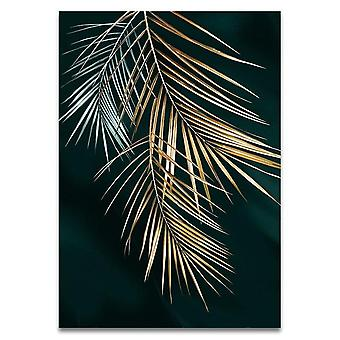 Modern Style Abstract Golden Plant Leaves Canvas Print Painting - Art Aisle Living Room Wall Artwork