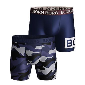 Bjorn Borg Miehet&s Boxer Shortsit 2 Pack ~ Rauhallinen sininen