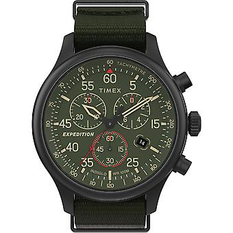 Timex Tw2T72800 Men'S Expedition Field Chronograph 43mm grün Stoff Armband Uhr
