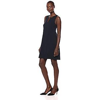 Brand - Lark & Ro Women's Sleeveless Split Neck Shift Dress, Navy, 6