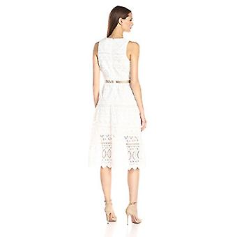 JOA Women's Embroidered A-Line Dress, White, Large