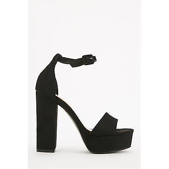 Suedette High Block Heels