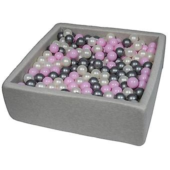 Square ball pit 90x90 cm with 450 balls mother of pearl, light purple & silver