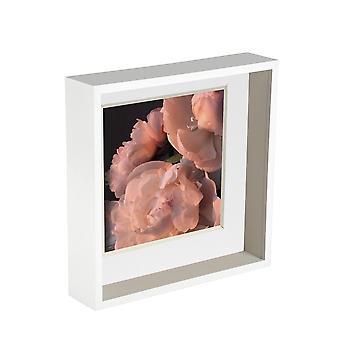 Nicola Frühling 2 Stück 10 x 10 3D Schatten Deep Box Fotorahmen Set - Handwerk Display Bilderrahmen - weiß