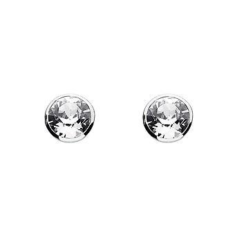 Dauw sterling zilver middellange ronde Cubic Zirconia Stud Oorbellen 3039CZ
