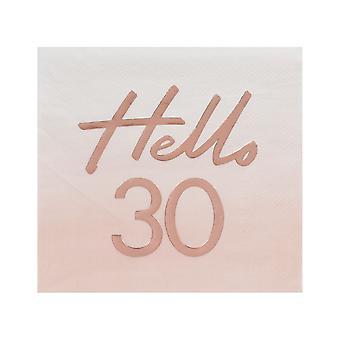Hello 30 Rose Gold Paper Party Napkins - 30th Birthday Napkins x 16