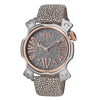 Rebel Women-apos;s RB104-5021 Coney Island Montre-bracelet en cuir tan à deux tons