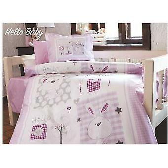 Rabbit Purple Flannel Baby Duvet Cover Set For Winter