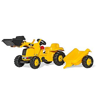 Rolly toys rolly kid caterpillar jcb tractor with front loader & trailer for