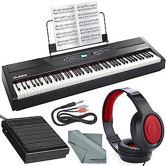 Alesis recital pro 88-key digital piano w/ hammer-action keys deluxe bundle with sustain pedal + headphones + cables + fibertique cloth