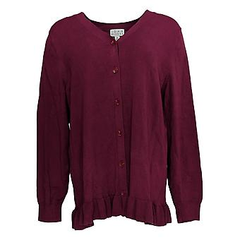 Joan Rivers Classics Collection Kvinder's Sweater Cardigan Red A309634