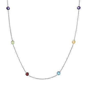 14k White Gold Cable Chain Necklace Spring Ring Clasp Multi Color Faceted Station Stone Jewelry Gifts for Women - Length
