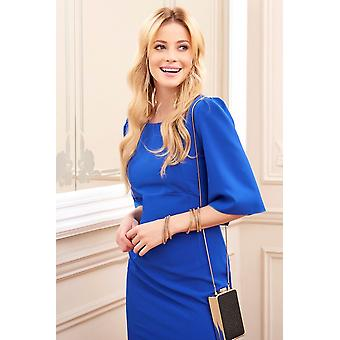 Women's Elegant 1/2 Sleeve Zipped And Button End Midi Pencil Dress With Open Back Fa588