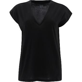 Frame Lwts0826noir Women's Black Cotton T-shirt
