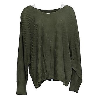 Rachel Hollis Ltd. Women's Sweater V-Neck Long-Sleeve Green A368006