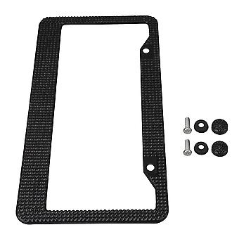 Black Stainless Steel RhineStone License Plate Frame Cover with Screws