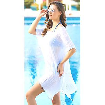 Aqua Perla Womens Tunik White Short Beach Dress