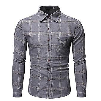 Yunyun Men's Stylish Lapel Long Sleeve Plaid Casual Slim Fit Button Shirt