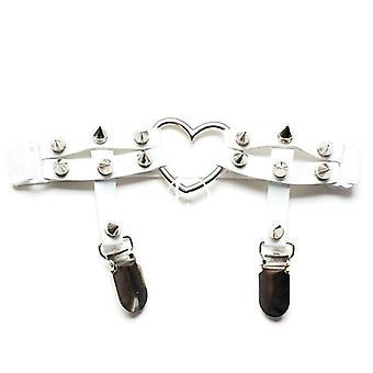 Elasztikus bőr láb gyűrű harisnyakötő öv punk szív szegecs comb gyűrű goth