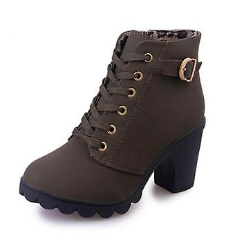 Winter Casual Women Pumps Warm Ankle Boots Waterproof High Heels Snow Shoes