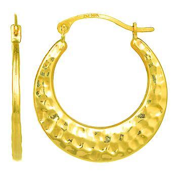 10k Yellow Gold Hammered Round Hoop Earrings, Diameter 20mm