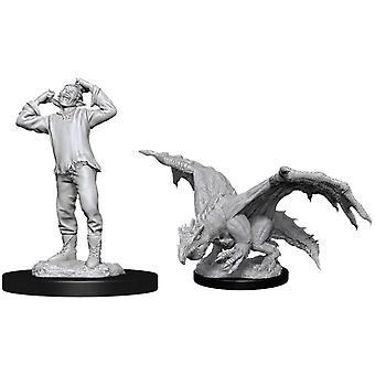 D&D Nolzurs Miniatures Non peintes Green Dragon Wyrmling & Afflicted Elf - 6 Packs