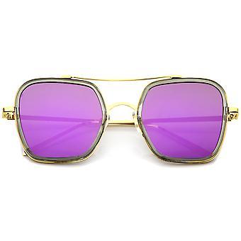 Modern Slim Temple Browbar Color Mirrored Flat Lens Lunettes de soleil carrées 52mm