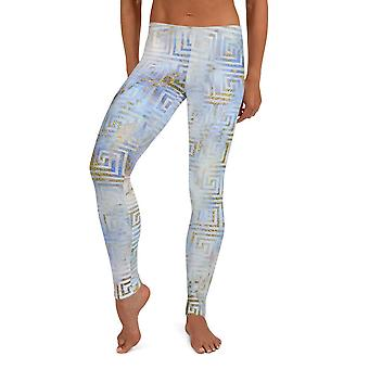 Abstract Blue Gold Art Deco Athleisure Leggings