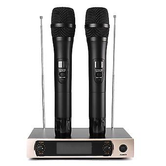 UHF Wireless Microphone System LCD Display Dual Handheld Mic Party KTV Cordless Microphones