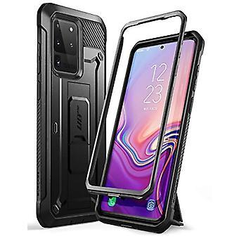 SUPCASE UB Pro -sarja suunniteltu Samsung Galaxy S20 Ultra / S20 Ultra 5G -koteloon (2020-julkaisu), kokovartaloinen kaksikerroksinen kestävä kotelo ja jalustakotelo ilman sisäänrakennettua näytönsuojaa (musta)