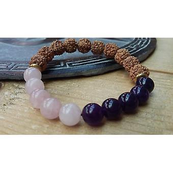 Rose Quartz Yoga Bracelet With Amethyst - Healing & Peace