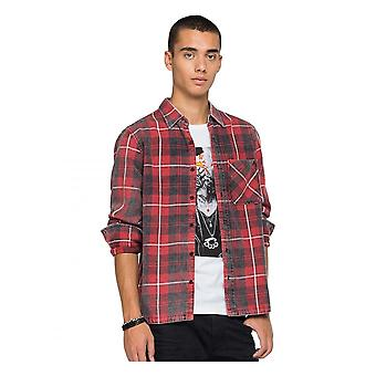 Replay Jeans Replay Mens Flannel Washed Check Shirt Red