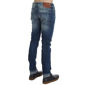 Acht Blue Wash Cotton Stretch Slim Skinny Fit Faded Jeans