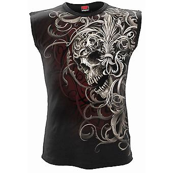 Skull Shoulder Wrap Allover Sleeveless T-Shirt Black