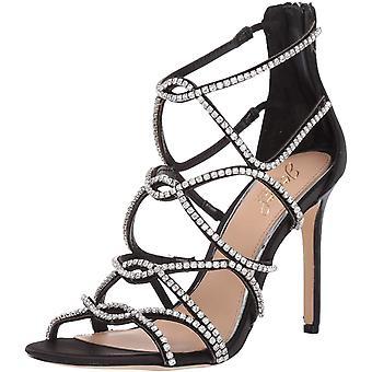 Jewel Badgley Mischka Women's DELANCEY Sandal, black satin, 8 M US