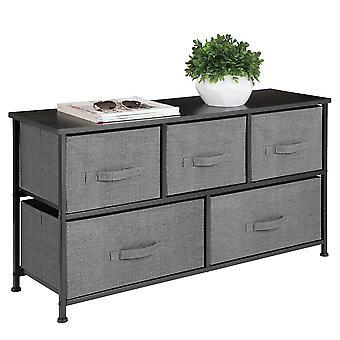 mDesign Extra Wide Dresser Opbergtoren met 5 Lades - Charcoal Grijs/Zwart