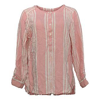Denim & Co. mulheres ' s Top listrado fios tingidos tecido rosa A275870